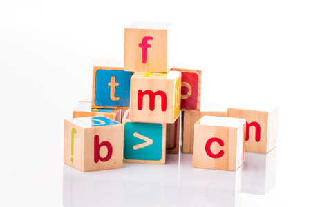 Toy cubes. Baby collection. ABC letters made from baby toys Banque d'images - 123176176