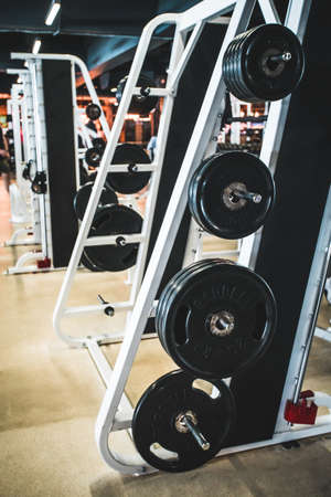 Gym modern fitness center room Stock Photo