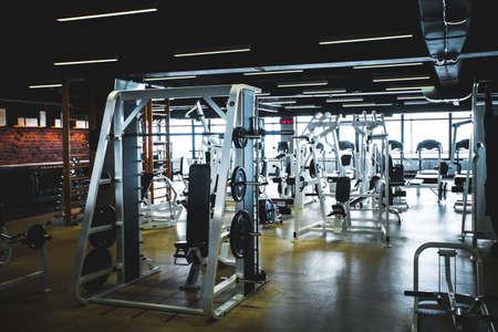 Modern light gym. Sports equipment in gym Stock Photo