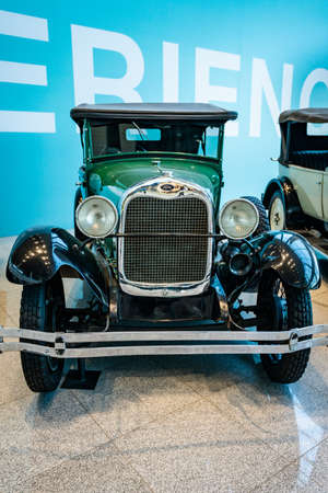 MOSCOW, RUSSIA - MAY 27, 2019: Ford Phaeton built at year 1929 vintage car at the free of charge exhibition at the Moscow Domodedovo Airport Editorial