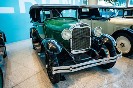 MOSCOW, RUSSIA - MAY 27, 2019: Ford Phaeton built at year 1929 vintage car at the free of charge exhibition at the Moscow Domodedovo Airport