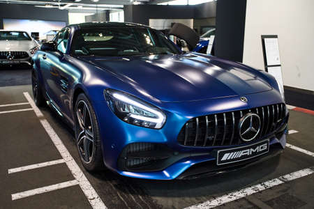 Germany, Dusseldorf July 17, 2019: The new modern Mercedes-Benz AMG GT C in the  Mercedes-Benz dealership in Dusseldorf. Germany