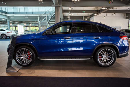 Germany, Dusseldorf July 17, 2019: The new modern Mercedes-Benz AMG GLE63 S Coupe  in the  Mercedes-Benz dealership in Dusseldorf. Germany Redakční