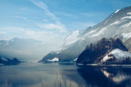 Panoramic view of beautiful white winter  in the Alps Banco de Imagens