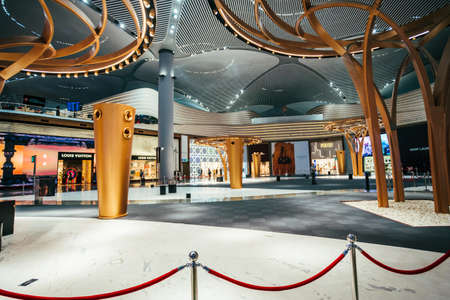 ISTANBUL,TURKEY,AUGUST 02, 2019: Interior view of the Istanbul new airport.  New Istanbul Airport is the main international airport located in Istanbul, Turkey Stock Photo