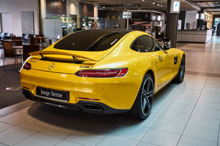 Germany, Dusseldorf July 17, 2019: The new modern Mercedes-Benz AMG GTS  in the  Mercedes-Benz dealership in Dusseldorf Editorial