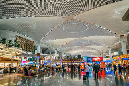 ISTANBUL,TURKEY,AUGUST 02, 2019: Interior view of the Istanbul new airport.  New Istanbul Airport is the main international airport located in Istanbul, Turkey Editorial