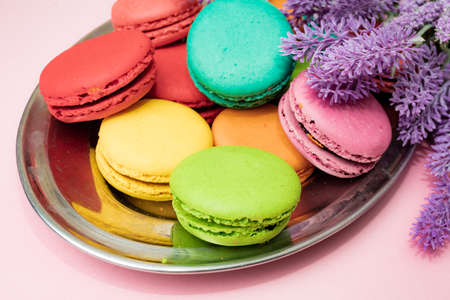 French macaron cakes composition with lavender flowers
