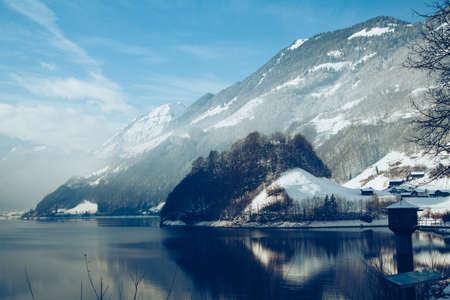 Beautiful winter on the Lake. winter landscape