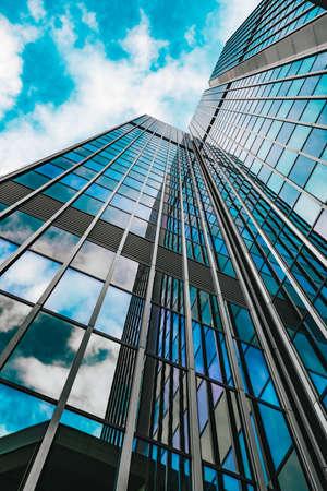 Modern glass building skyscrapers