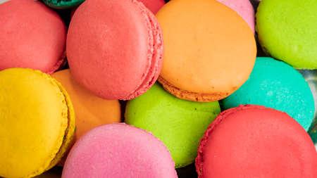 Dessert cake macaron or macaroon on pink Banco de Imagens