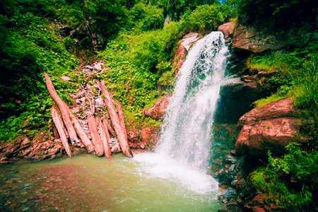 Park of waterfalls Mendeliha. Forest river and waterfall. Sochi. Rosa Khutor