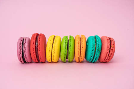 Colorful macarons cakes. sweet food Stock Photo - 129204392