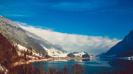 Beautiful winter scenery in the Alps with snowy mountain