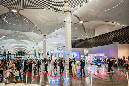 ISTANBUL,TURKEY,AUGUST 02, 2019: Interior view of the Istanbul new airport. New Istanbul Airport is the main international airport located in Istanbul, Turkey