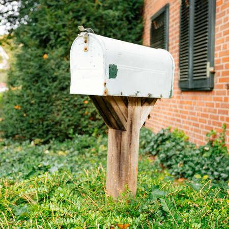Old mail box. Vintage metal  post box