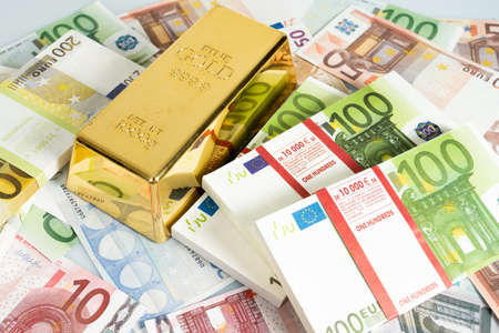 Gold bars, Financial, business investment concept. Euro Money  Stock fotó