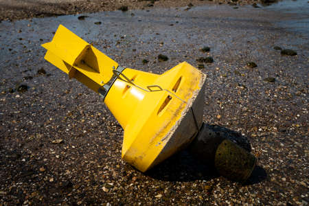 Warning buoy at the river. drought concept Stock Photo - 135325662