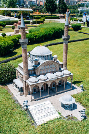 Istanbul, Turkey - July 12, 2017: A Copy Of the Manisa Muradiye mosque in Park Miniaturk