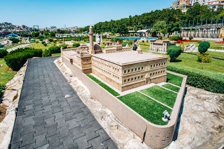 Istanbul, Turkey-July 12, 2017: exact copy Ishak Pasa palace in miniaturk Park 新聞圖片