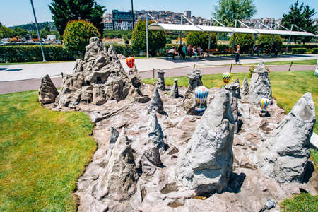 Istanbul, Turkey - July 12, 2017: the reduced copy of the Land of Beautiful Horses - Fairy Chimneys at Miniaturk Park