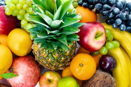 Fondo de frutas frescas Alimentación saludable Foto de archivo