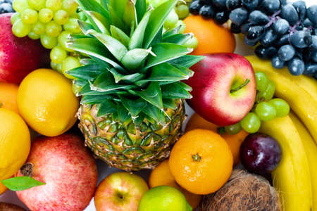 Fresh fruits background.Healthy eating Stockfoto