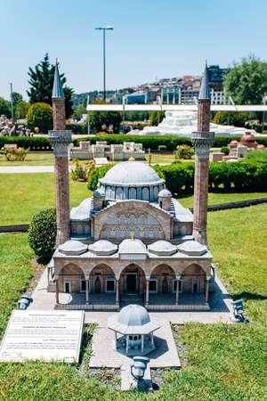 Istanbul, Turkey - July 12, 2017: A Copy Of the Manisa Muradiye mosque in Park Miniaturk Editoriali