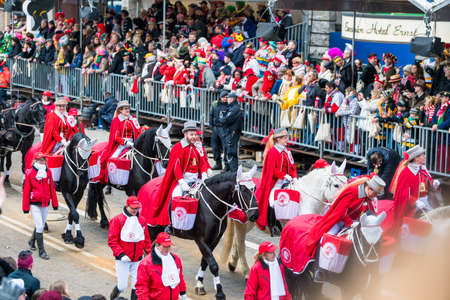 Cologne, Germany - February 12, 2018 : Rosenmontag Parade ( the rose monday). More than one million spectators on the streets.Carnival parade