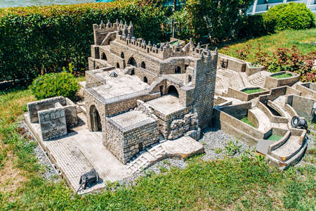 Istanbul, Turkey - July 12, 2017: the reduced copy of the Damascus Gate. Miniaturk Park located in Istanbul