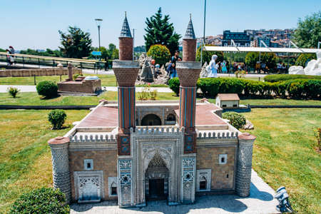 Istanbul, Turkey - July 12, 2017: the reduced copy of the Sivas Gok Madrasa at Miniaturk Park