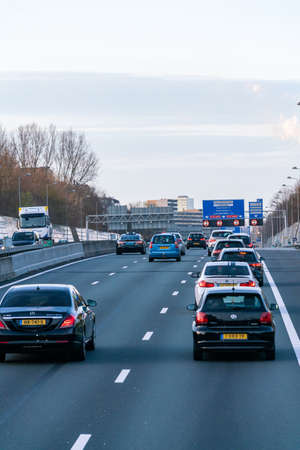 Amsterdam, Netherlands - March 23, 2019: The A4 motorway in the Netherlands that connects Amsterdam and The Hague. Stockfoto
