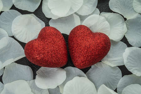 Romantic red heart with love on valentine's day