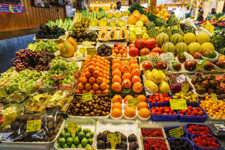 Fruit market. Lots of different fresh fruits.
