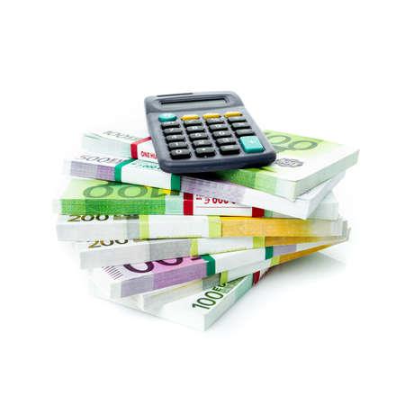 Financial Accounting Concept. euro bills with a calculator Standard-Bild