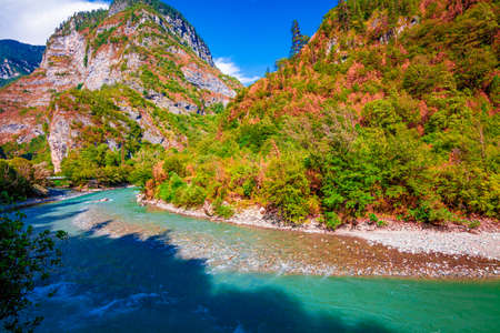 beautiful landscape, nature. forest mountain and blue stream, beauty nature scenery view background. 版權商用圖片