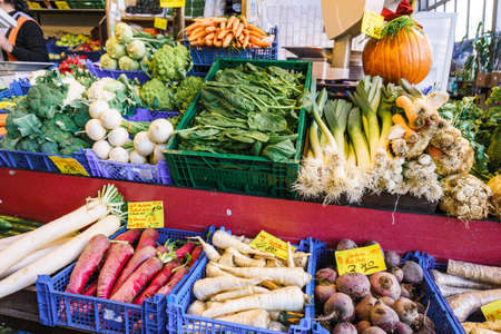 Fruit and vegetable market. Lots of different fresh fruits and vegetables.