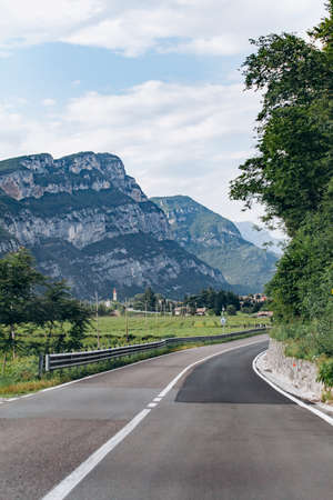 Beautiful Summer Mountain Road. Summer road in the mountains.