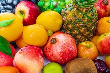 composition with a lot of differrent fruits. exotic fruits 免版税图像