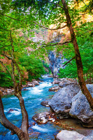Mountain river landscape. River valley in mountains