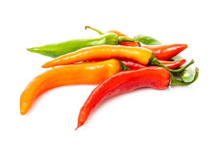 hot chilli peppers isolated on white background 免版税图像
