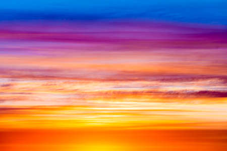 Sky, Bright Blue, Orange And Yellow Colors Sunset