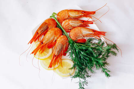 Shrimp on a plate with lemon and dill. White background 免版税图像