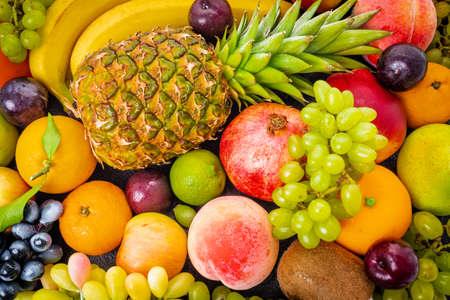 Fresh fruits background.Healthy eating