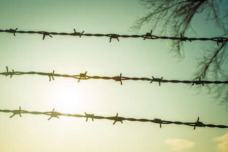 Barbed wire on fence with blue sky to feel worrying 免版税图像