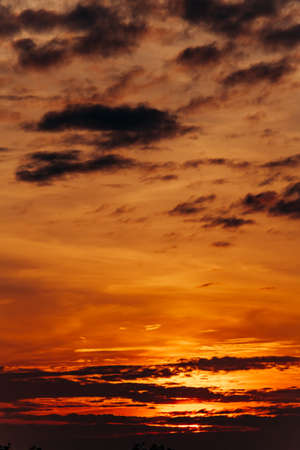 Beautiful sunset. Orange sunset. The moon at sunset