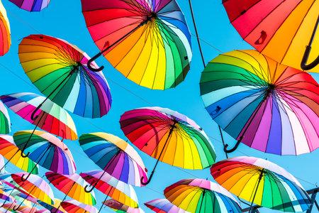 Colorful umbrellas. rainbow umbrellas background