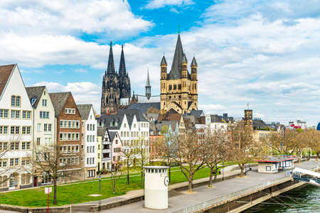 Germany, Cologne, view to the city with Rhine River 免版税图像