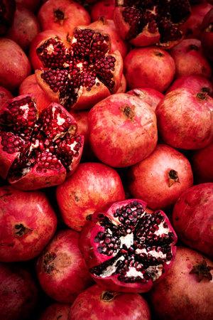 Cracked pomegranate. Ripe pomegranate close-up