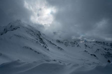 Beautiful mountains landscape under blue sky